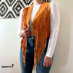 Leather Fringe Boho Vest